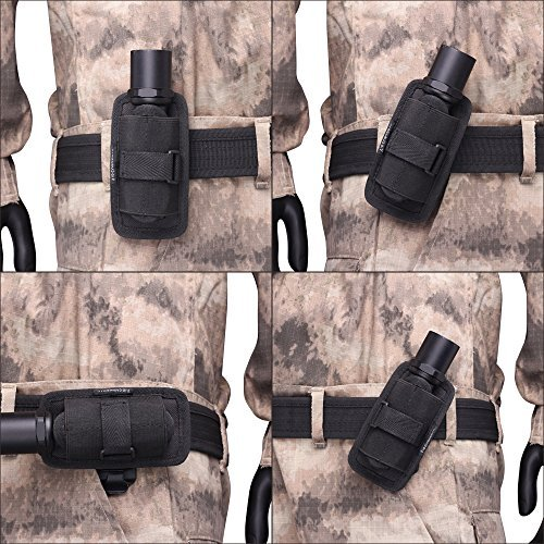 Flashlight Pouch Holder Holster Belt Carry Case With 360 Degree Rotatable Clip