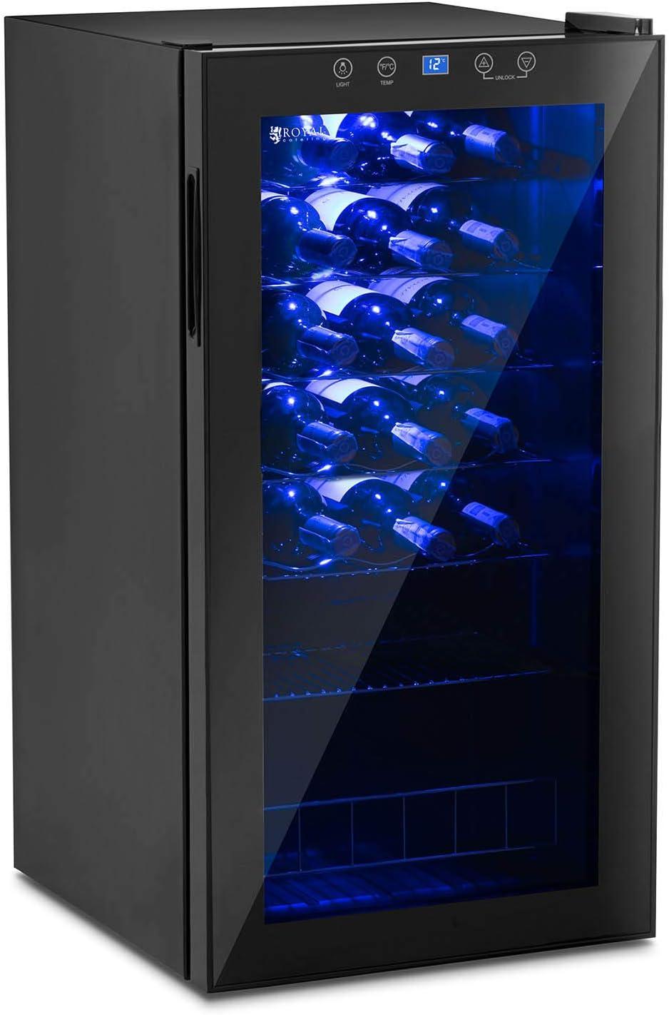 Royal Catering Small Wine Fridge Drinks Fridge Wine Refrigerator Wine Cooler 82L 28 Bottles RCWI-88L Powder-Coated Steel, Tempered Glass, Black, LED