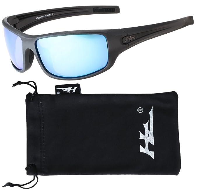 Hornz HZ Serie Arkana - Gafas de Sol Polarizadas Premium Marco gris mate de  Gunmetal - Lente de espejo de hielo azul  Amazon.es  Ropa y accesorios ef66fe70ead3