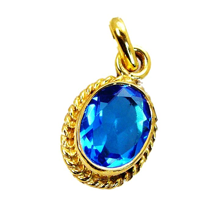 Jewelryonclick Blue Sapphire CZ Pendants Gifts for Women Fashion Gold Plated Handmade Gemstone Jewelry