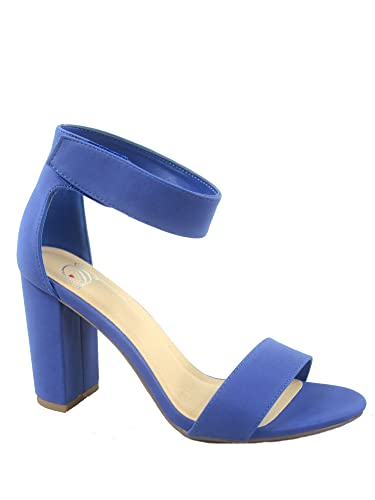 52d085f4edd8 Delicious Elton-s Women s Fashion Open Toe Ankle Strap Chunky Heels Sandals  Shoes (5.5