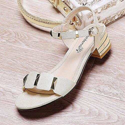 Verano Mujer zapatos de cuero Sandalia de verano boca de pescado,40 de oro Beige