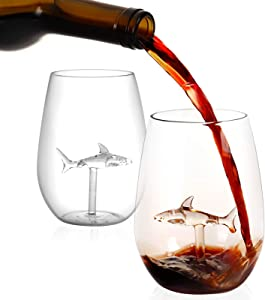 Shark Stemless Wine Glass with Shark Inside,Set of 2 Stemless Aerating Wine Glasses for Red or White Wines,Great Gift for Wedding Anniversary Christmas Birthday Party,Shark Cup-20 Ounce