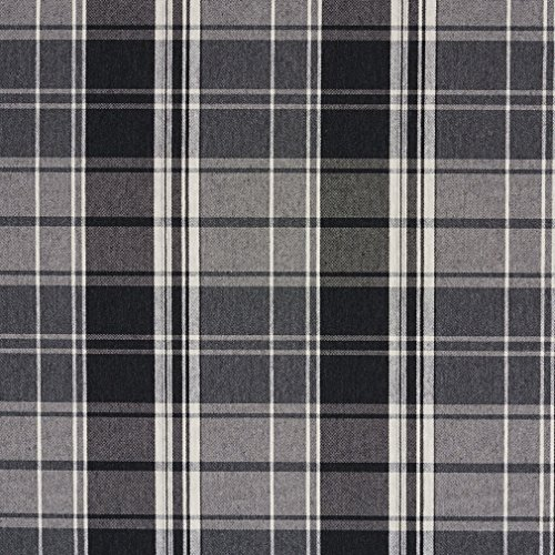 E805 Black, Grey and White Classic Plaid Jacquard Upholstery Fabric By The Yard