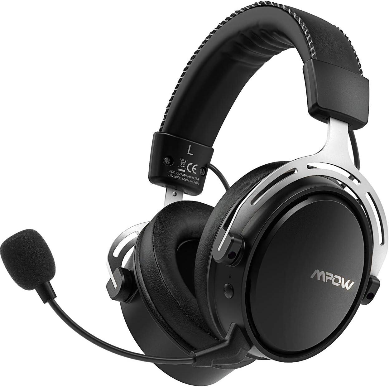 Mpow Air 2.4G Auriculares Gaming para PS4, PC, Xbox One, Estéreo Cascos Inalámbricos para Juegos con Micrófono Desmontable con Cancelación de Ruido,Transmisor USB Incluido - Gris