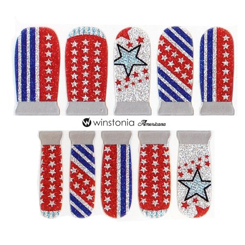 Stripes Applique Flag (Winstonia Designer Nail Wrap Strips - Americano)