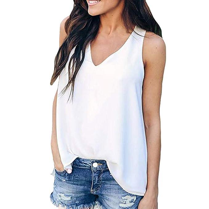 ... para Mujer sin Mangas Camiseta sin Mangas Mujer Camiseta de Tirantes Suaves Camiseta Yoga Mujer, Gasa Cuello En V A: Amazon.es: Ropa y accesorios