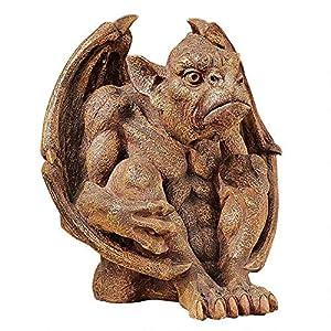Design Toscano Balthazar's Watch Gargoyle Gothic Decor Statue, 25 cm, Polyresin, Aged Stone