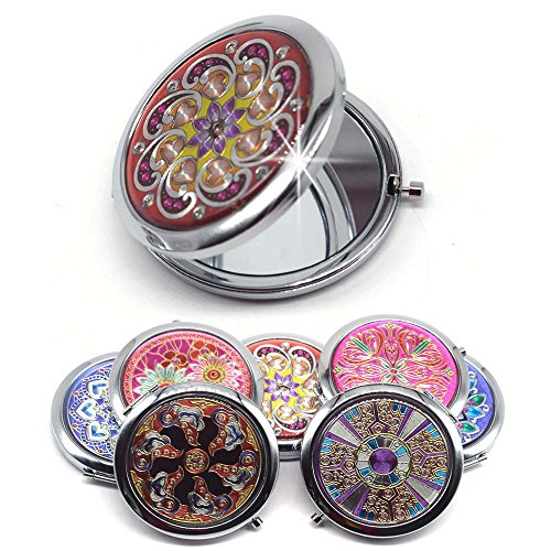 Mezerdoo 1Pcs Portable Foldable Pocket Metal Makeup Compact Mirror Woman Cosmetic Mini Beauty Normal Magnifying Mirror Double Sides Mirrors(Sent by Random)