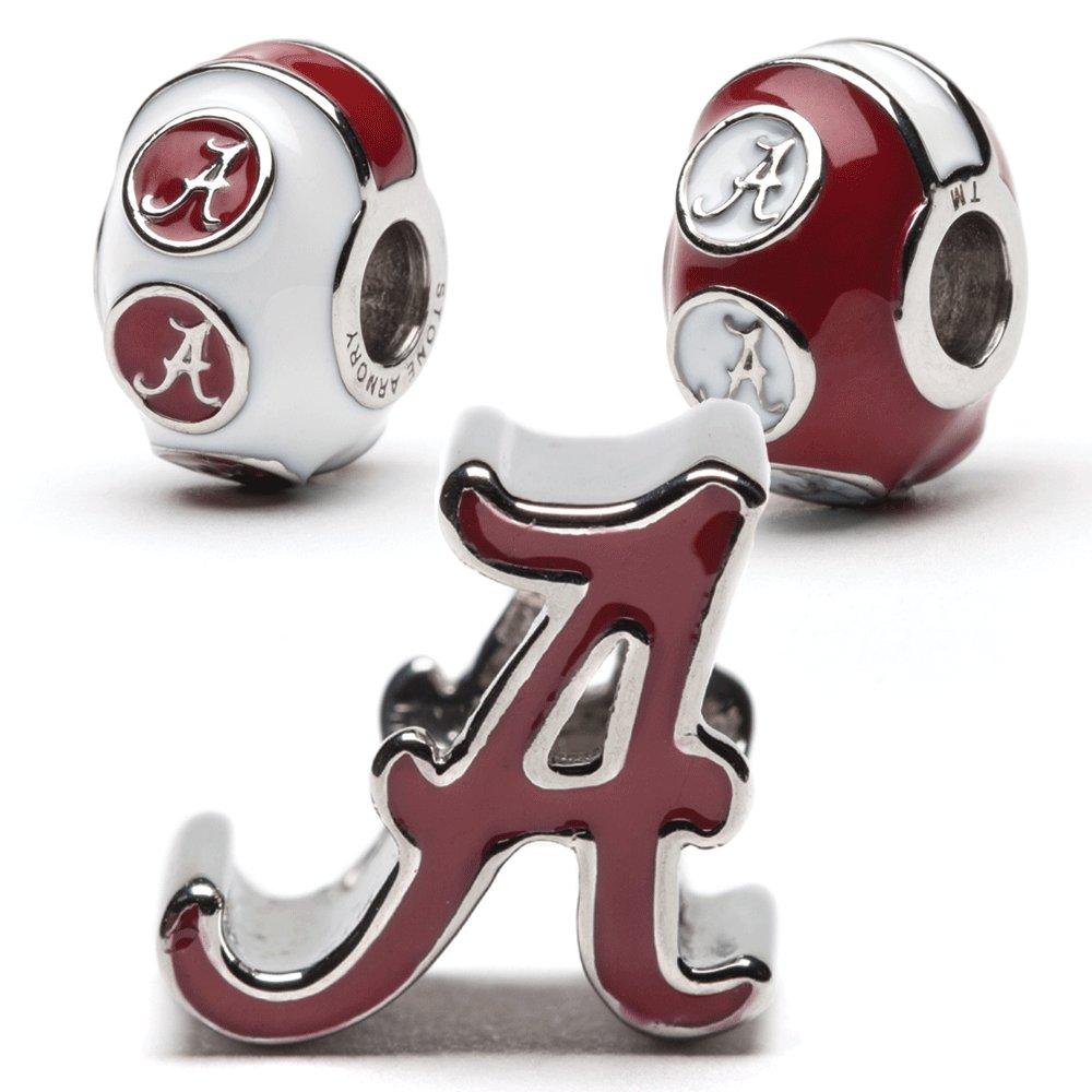 University of Alabama Bead Charm Set | Stainless Steel Alabama Charms | Set of Three Crimson Tide Charms | University of Alabama Gift | Fits Most Popular Charm Bracelets