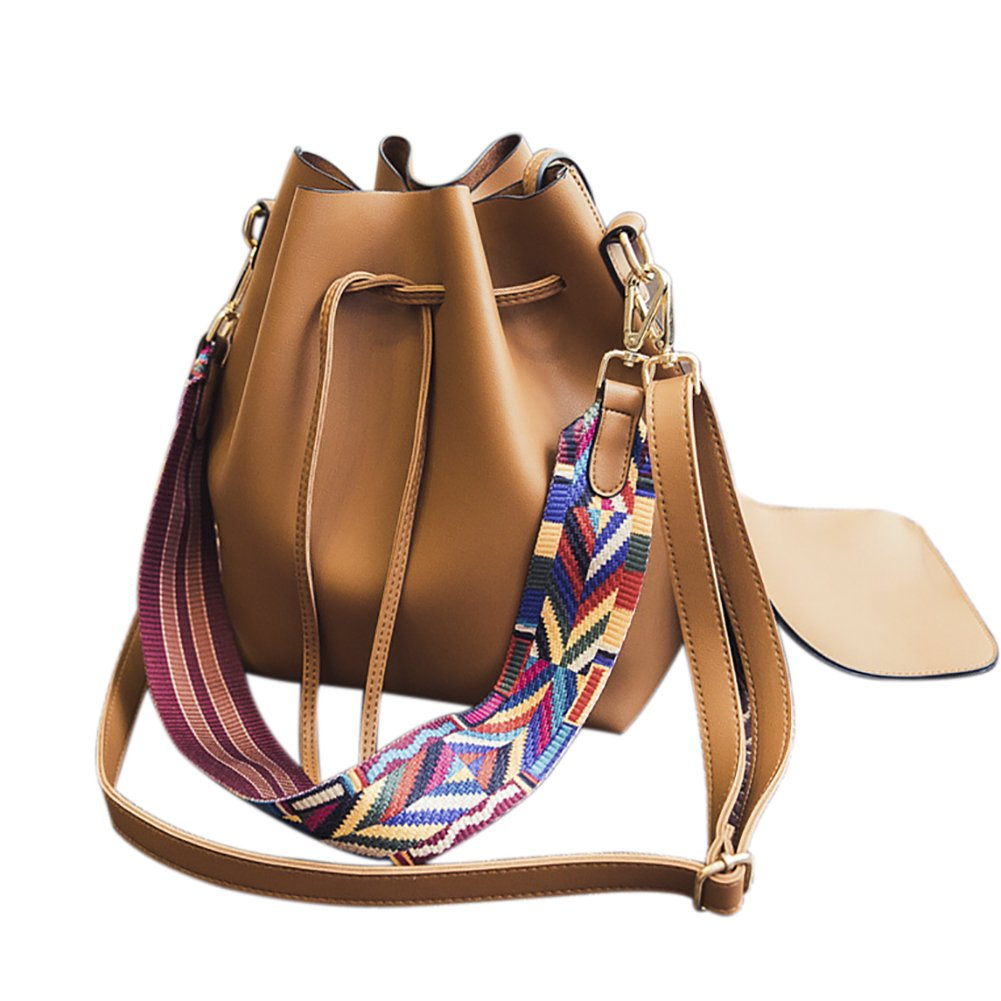 Women s PU Leather Drawstring Bucket Bag Crossbody Bag Shoulder Bag Purse  With Colorful Strap 439e523361ca8