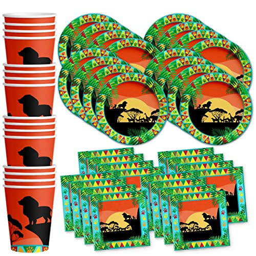 Sunset Safari Animals Birthday Party Supplies Set Plates Napkins Cups Kit for - Party Lion Birthday