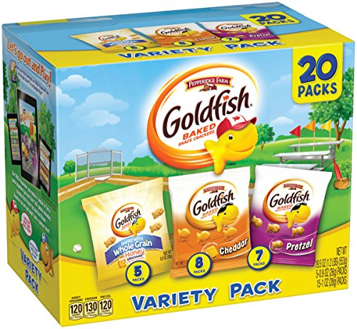 (Pepperidge Farm, Goldfish, Crackers, Sweet & Savory, 19.5 oz, Variety Pack, Box, Snack Pack, 20Count)