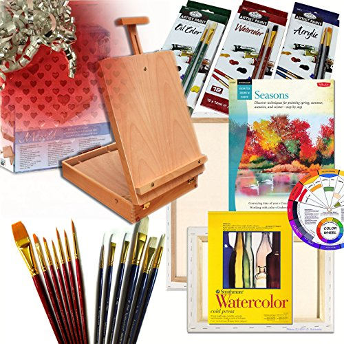 Artist Quality Table Easel with Complete Art Set Our 'Gift Edition' with Painting Supplies & More by Online Art Supplies