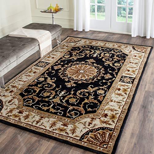 Safavieh Empire Collection EM459D Handmade Classic European Black and Ivory Premium Wool Area Rug (6' x 9')
