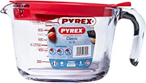 Pyrex Classic Glass Measuring Jug with Lid, 1 Litre Capacity