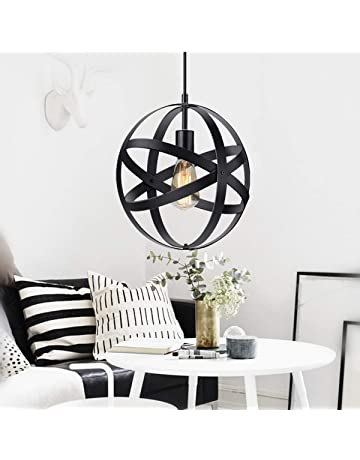 KingSo Industrial Metal Pendant Light, Spherical Pendant Light, Rustic  Chandelier Vintage Hanging Cage Globe
