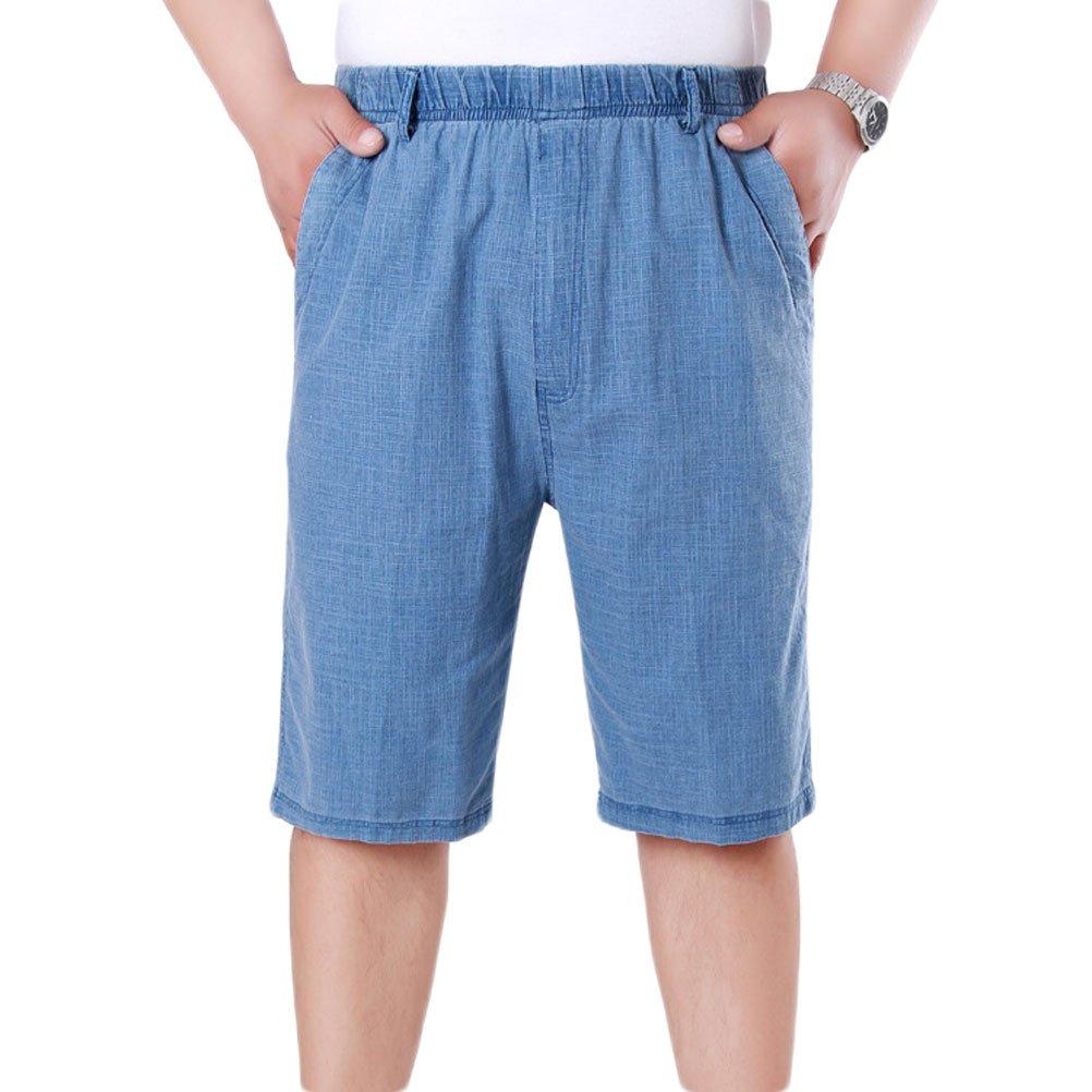 Soojun Mens Casual Elastic Waist Summer Shorts with Pockets, Upgrade Blue, X-Large