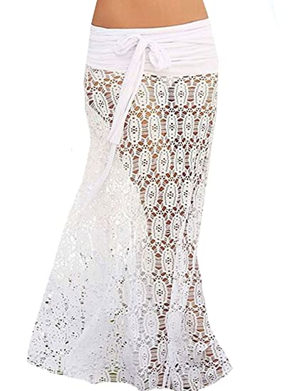 abfbe13649 Bikini Swimwear Cover Up Sexy Hollow out Lace Crochet Beach Dress Skirt for  Women White