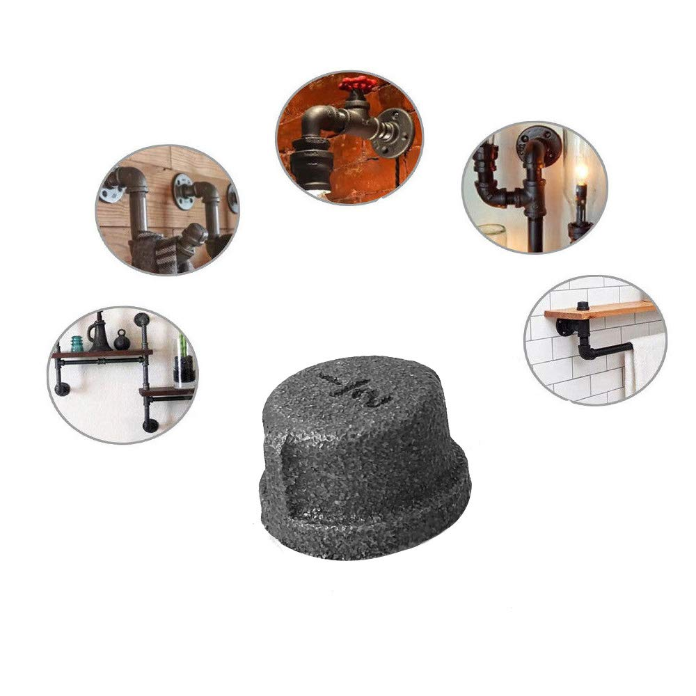1//2 Inch Threaded Pipe Nipples for DIY decor or industrial vintage style IBEUTES 10-Pack Black Malleable Iron Cast Pipe Fitting Cap 1//2