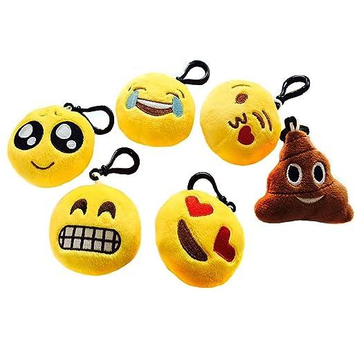 26 opinioni per SUNYOU Stile 1 Portachiavi Emoji di peluche, 6 cm, 6 pezzi, Giallo