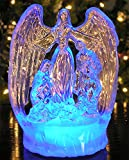 """LED Lighted Christmas Angel and Holy Family Nativity - Clear Acrylic Color Changing Figurine Decoration 8""""H"""