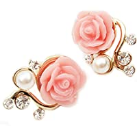 Rose Flower Crystal Rhinestone Pearl Stud Earrings (Pink)