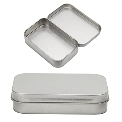 Amazoncom LAYs Small Metal Flip Storage Box Case Tin Silver for