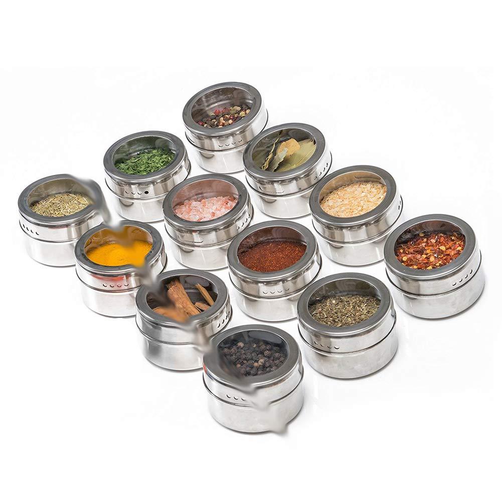 Grill oder Metallw/ände 12 Packs With Tray CTlite Magnetische Gew/ürzdosen aus Edelstahl f/ür K/ühlschrank