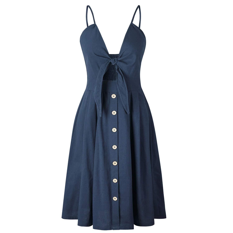 Dark bluee Women Dress Summer Short Green Lace Up Sexy Beach Deep V Neck Button Vacation Vintage Dress