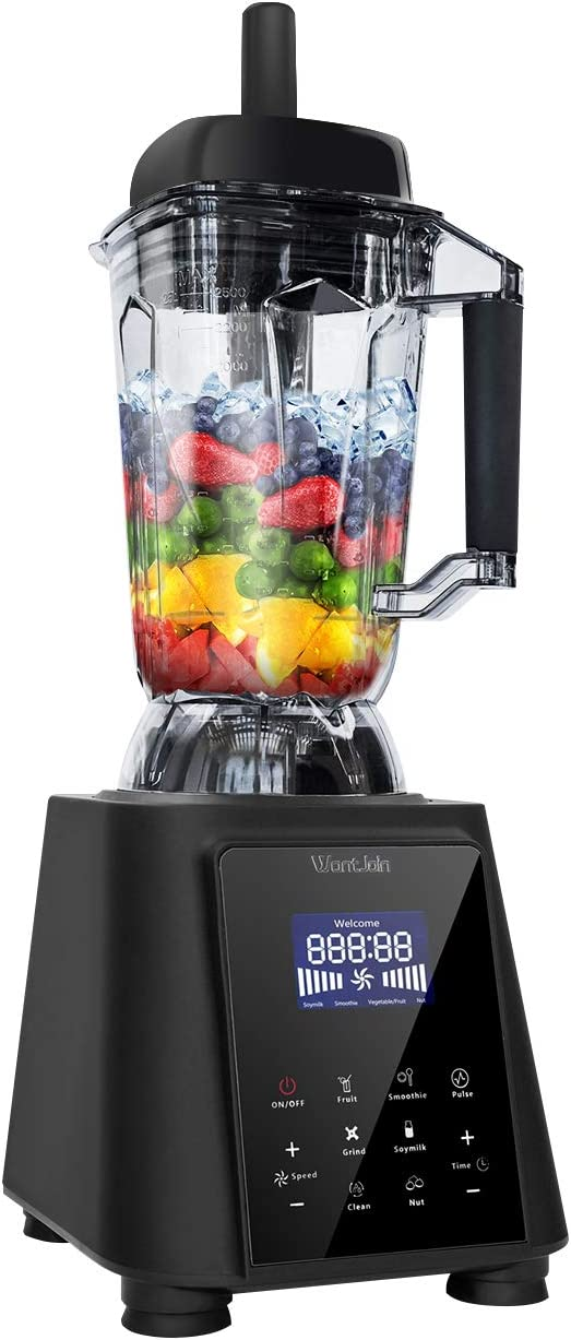 WantJoin Digital Electric Countertop Blender Professional 2L Capacity Food Processing Kitchen Blender for Soup Shakes & Smoothies with Pulse Blend, Timer, Adjustable Temperature/Speed (BLACK)