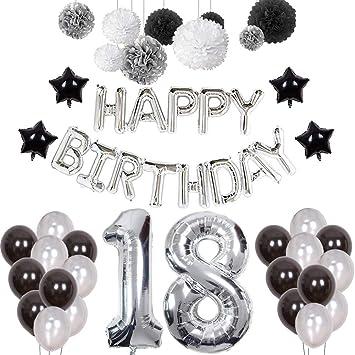 18th Birthday Decorations Puchod Happy Banner Number 18 Foil Ballon Party Decor Set Black