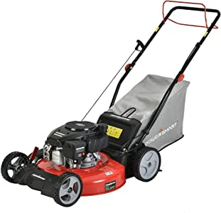 PowerSmart Lawn Mower, 21-inch & 170CC, Gas Powered Self-Propelled Lawn Mower with 4-Stroke Engine, 3-in-1 Gas Mower in Color Red/Black, 5 Adjustable Heights (1.2''-3.0''), DB2521SR