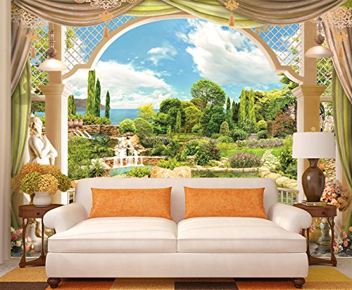 "3D Balcony Garden View 7 Wall Paper Print Decal Deco Indoor Wall Mural Self-Adhesive Wallpaper AJ Wallpaper US Carly (Vinyl (No Glue & Removable), 【 82""x58""】 208x146cm ()"