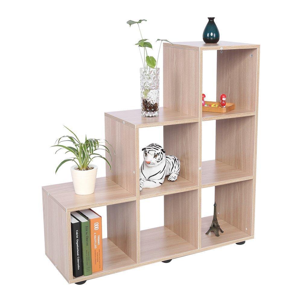 Scaffalature In Legno Per Libri.Gototop Libreria Scaffale A Scala Mobile Con Mensola In Legno