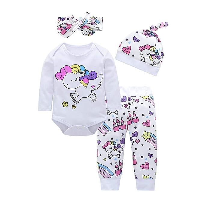Bebé Mono, ASHOP Recién Nacido Bebé Mono Niña Unicornio Impresión Romper Manga Larga Bodies Ropa Casual Jumpsuit + Pantalones + Cap + Venda 0-18 Meses: ...