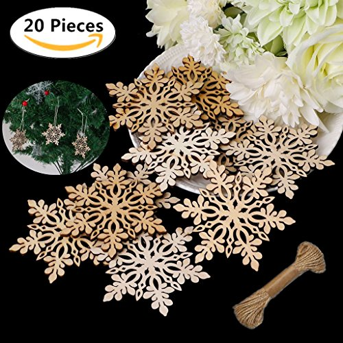 20 Mini Christmas Wooden Snowflake, Magnolora 80mm Unfinished Blank Wood Slice Wood Ornaments with Brown Edge for Wedding Ornaments, Christmas Party Embellishments, Arts Crafts DIY Decoration
