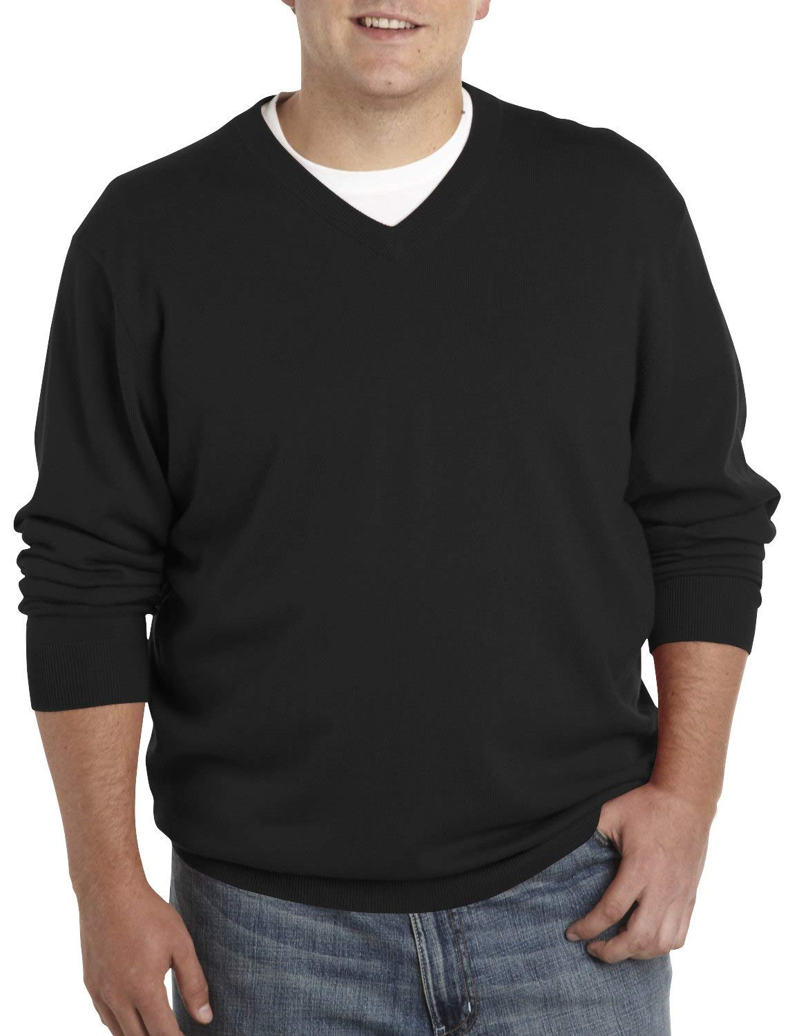 Rochester by DXL Big and Tall Cotton/Cashmere V-Neck Sweater, Black, 2XLT