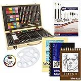 US Art Supply 82 Piece Deluxe Art Creativity Set in Wooden Case with BONUS 19 additional pieces - Deluxe Art Set
