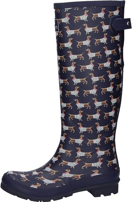 Tom Joule Ladies Welly Print Welly Boots Navy Raindrops Amazon De Schuhe Handtaschen