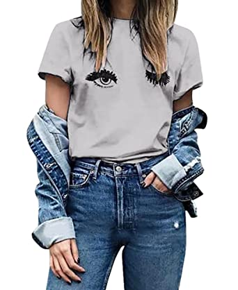 Imysty Womens Short Sleeve Graphic Printed Wink Eyes Tee Blouse T-Shirt Tops  at Amazon Women s Clothing store  f582554b2