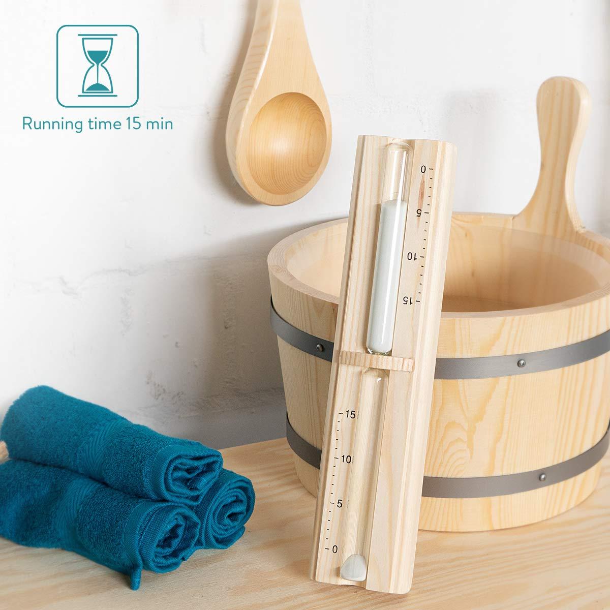 Sablier 15 Minutes en Bois de Pin pour S/éance de Sauna Hammam Spa Navaris Sablier Sauna Accessoire Minuteur D/étente Relaxation Bain Vapeur