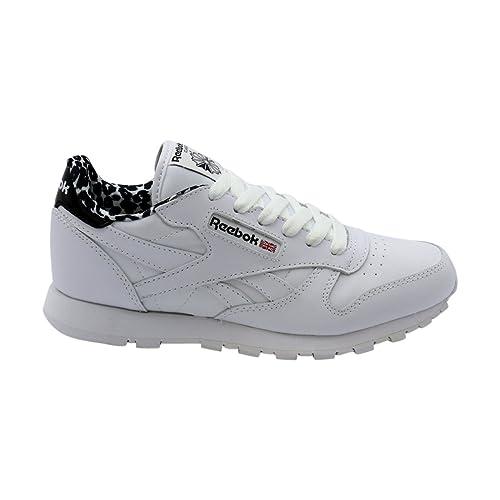 Kids Girls Classic Leather Animal (Little Kid) Black/White/Poison Pink Shoe Reebok Lp2GzAGiQ