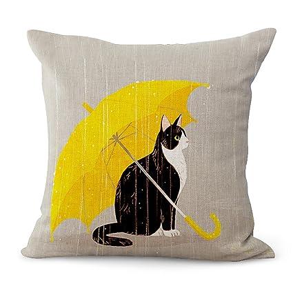 Funda de almohada, zeato Funny lovely animales abstracto Adorable [gato bajo paraguas] manta
