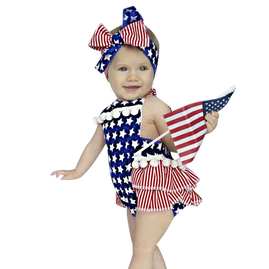 Goodlock Toddler Newborn Fashion Romper Baby Girl 4th of July Star Stripe Flag Clothes Romper Jumpsuit Outfits