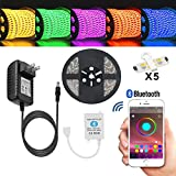 Amazon Price History for:Led strip lights TOPMAX Bluetooth Smartphone Controlled Strip Light Kit RGB 16.4ft/5m 150leds 5050 Non-Waterproof LED Lights with 12V 3A Power Supply Working with Android and IOS System