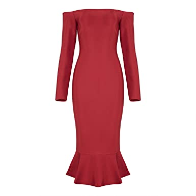 22314c59e8f9 Casual Mermaid Off Shoulder Sexy Full Sleeve Knee Length Autumn Women Lady Bandage  Dress,red