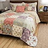 5pc Oversized Pink Purple Blue White Full Queen Quilt Set, Cotton, Floral Patchwork Themed Bedding Paisley Cottage French Country Rustic Pretty Flower Garden Jacobean Vintage