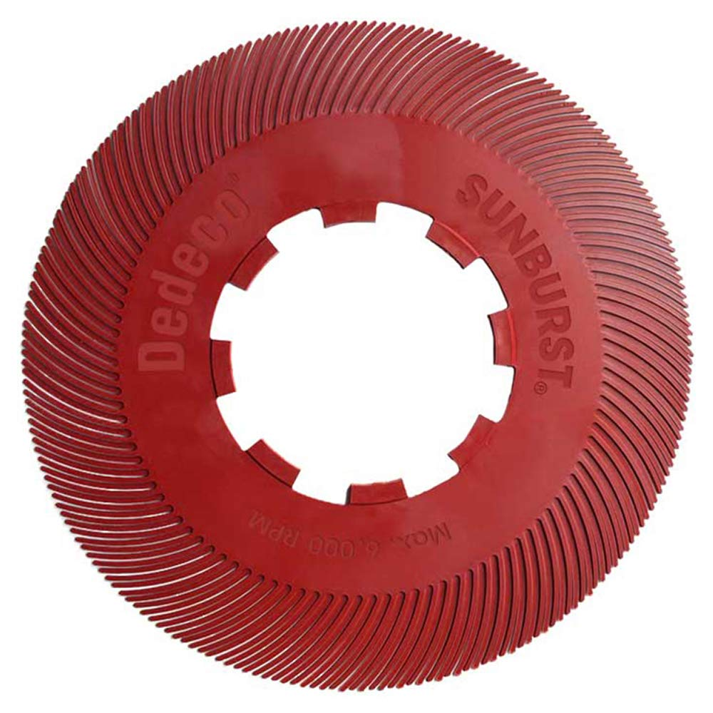 Dedeco Sunburst -7-5/8'' TC Radial Bristle Discs - 1'' Arbor - Precision Thermoplastic Rotary Cleaning and Polishing Tool, Standard 220 Grit (70 Pack)