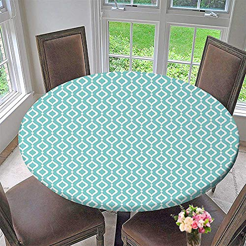 - Mikihome Picnic Circle Table Cloths Oval Shapes Chain with Dotsable Waves Trendy White for Family Dinners or Gatherings 50